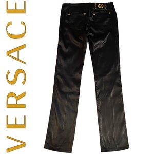 VERSACE black satin pants with gold hardware